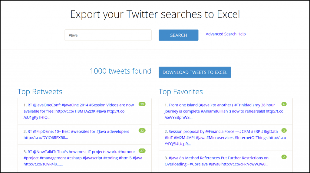 Export your Twitter searches to Excel