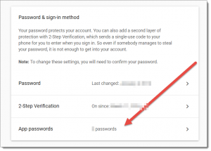Gmail Application specific passwords