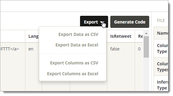 Data Preparation - Export Data