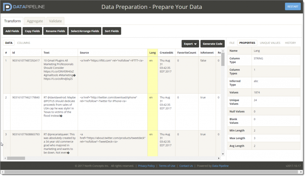 Online data prep and code generator for Data Pipeline
